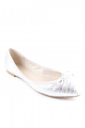 Kiomi Mary Jane Ballerinas silberfarben-hellgrau Animalmuster Metallic-Optik