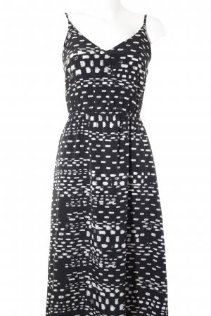 Kiomi Maxikleid schwarz-weiß Farbtupfermuster Casual-Look