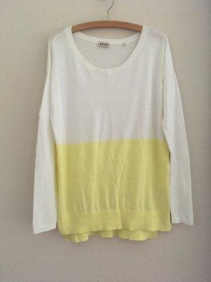 Kiomi Oversize Dip Dye Pullover gelb weiß