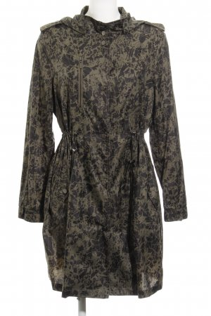 Kiomi Heavy Raincoat green grey-black brown abstract pattern casual look