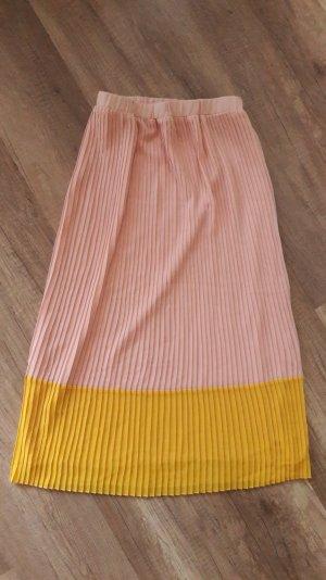 Kiomi Rock Faltenrock Highwaist Pleated Skirt Nude Puder Gelb 36