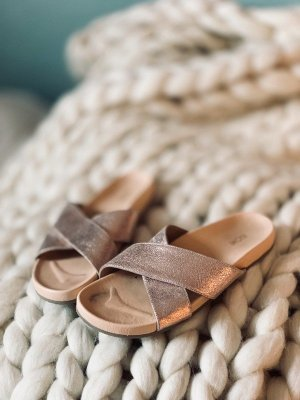 Kiomi Strapped Sandals rose-gold-coloured leather