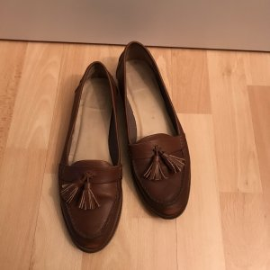Kiomi Slippers brown-cognac-coloured leather