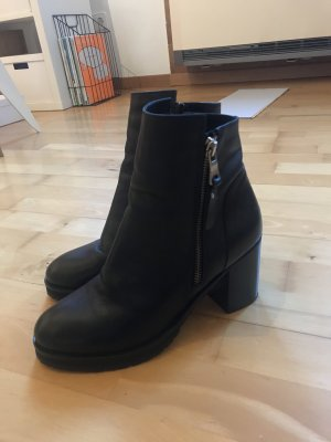 Kiomi Booties black-silver-colored leather