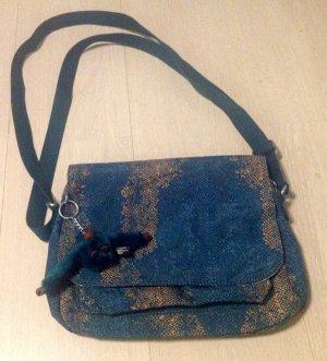 Kipling Handtasche 30 x 24 x 6 cm BLAU/ BEIGE gemustert