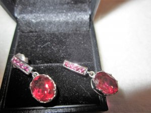 Silver Earrings silver-colored-red real silver