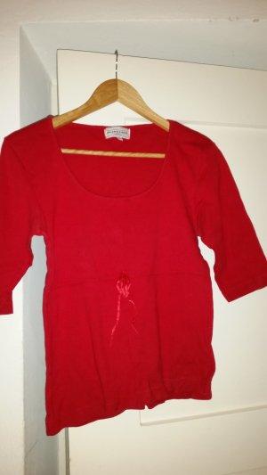 V-hals shirt magenta-neonrood Katoen