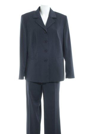 Kirsten Modedesign Business-Anzug dunkelblau-weiß Streifenmuster Brit-Look