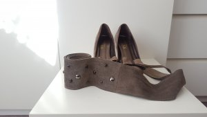 Kiss my feet! XX shoe pumps + belt, both suede leather, shoes size 37