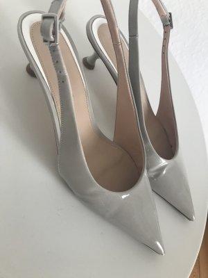 Zara Escarpin à bride arrière gris clair-blanc cassé