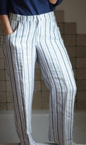KjBrand Damen Hose, Leinenhose, gestreift, offwhite, blau, marineblau