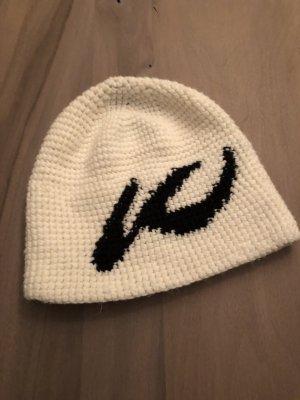 Kjus Bonnet en crochet blanc-noir