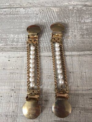 Suspenders gold-colored-white metal