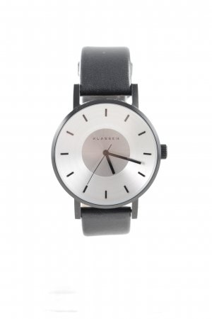 Klasse14 Reloj con pulsera de cuero negro-color plata elegante