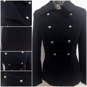 H&M Chaqueta estilo naval negro-color oro tejido mezclado