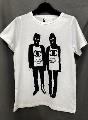 5 Preview T-shirt wit-zwart Katoen