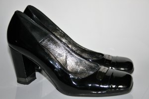 Gino Rossi Peep Toe Pumps black-silver-colored leather