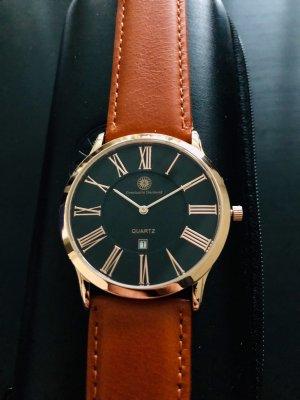 Horloge met lederen riempje roségoud-zwart Edelstaal