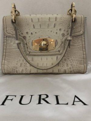 Klassisch elegante Schultertasche von Furla in hellem strukturierten Leder mit Patina