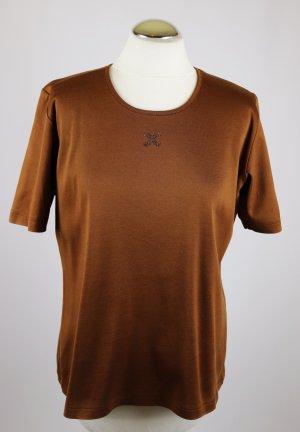 Klassisch T-Shirt Shirt Top Kurzarm Efixelle Größe 44 Jersey Braun Schokobraun Cognac Strass Kreuz