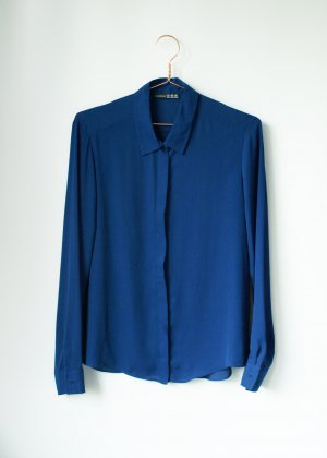 klassische blaue Chiffonbluse Primark Atmosphere 38 Bluse
