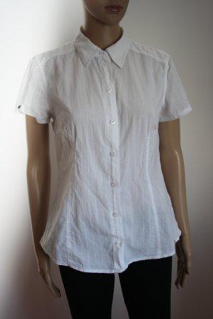 klassische Bluse in weiß, kurzarm