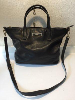 Klassische DKNY Donna Karan Handtasche schwarzes Leder Crossbody