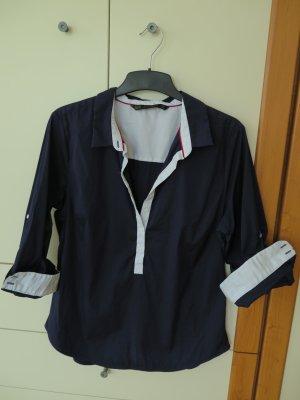 Klassische dunkelblaue Hemdbluse mit weißen Details von Zara, Gr. 42 (XXL)