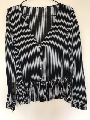 Zara Blouse à manches longues blanc-noir