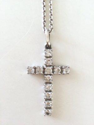 Klassische Kreuz Kette 925er Silber Zirkonia Anhänger Cross Necklace Silver