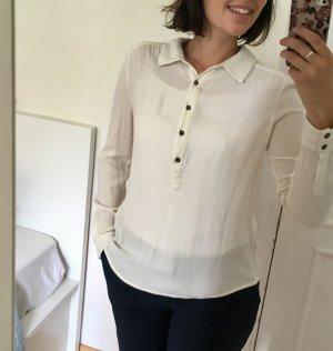 Klassische Langarm Bluse in Creme