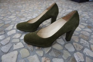 Elégance Paris Platform Pumps olive green leather