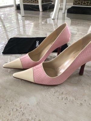 Chanel Peep Toe Pumps natural white-light pink leather