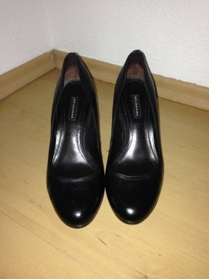 klassische schwarze Lederpumps, Pumps aus Leder, schwarz, Gr. 38, Belmondo