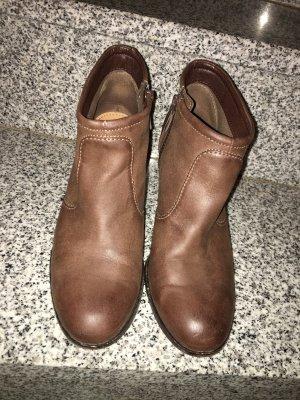 Edc Esprit Zipper Booties grey brown leather