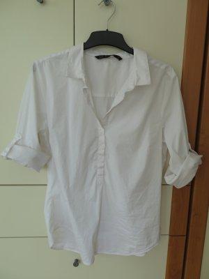 Klassische weiße Hemdbluse von Zara, Gr. 42 (XXL), mit Ärmelkrempen