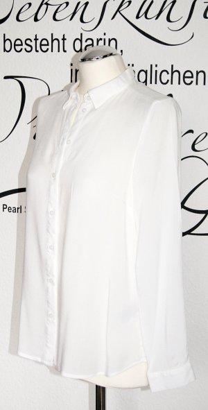 Klassische weiße Langarmbluse aus Viskose - NEU!! - Zum Schnäppchenpreis!