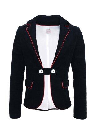 Tweed blazer zwart-rood Katoen