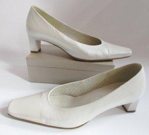 Klassischer Brautschuh Pumps Gabor Größe 38 Weiß Nude Elfenbein Perlmuttfarben eckig Schuhe Leder