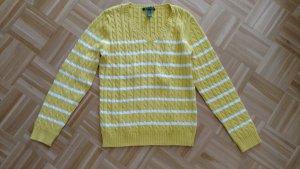 Klassischer Ralph Lauren Zopfpullover gelb weiss. Gr L. Kaum getragen.