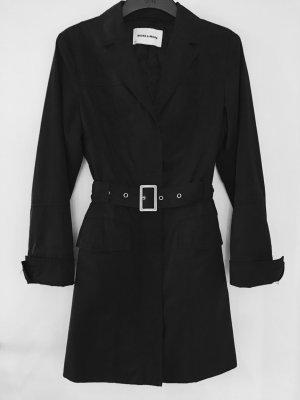 Klassischer schwarzer Trenchcoat von More & More, Größe 38