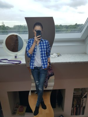 Hollister Camisa de leñador azul-blanco Algodón