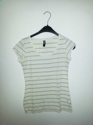 Camisa de rayas blanco-marrón arena