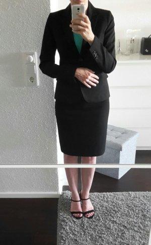 Klassisches tailliertes Hallhuber Kostüm Anzug schwarz in 34 Blazer + 36 Rock