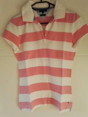 klassisches Tommy Hilfiger Poloshirt rosa/weiß Größe 38 / SALE - super Preis!