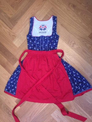Moser Vestido Dirndl azul-rojo ladrillo