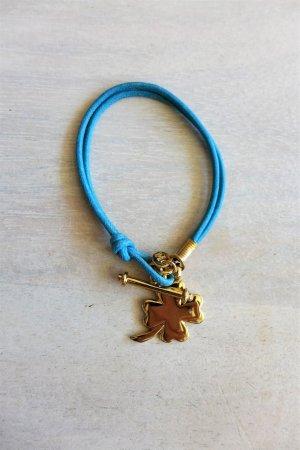 Kleeblatt Boho Scandi Armband gold türkis blau Anhänger Vo