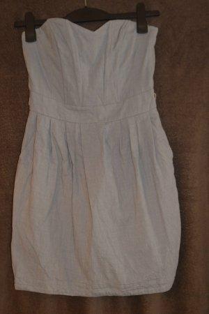 Robe en jean blanc-bleu azur tissu mixte
