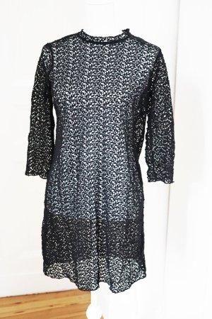 Kleid 100% Baumwolle Blätterdesign schwarz elegant schick besonders M 38