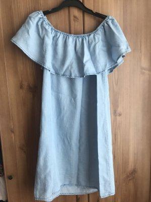 Bershka Vestido estilo flounce azul celeste